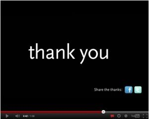 "Eight ""Thank You"" Videos Created by Nonprofits: http://nonprofitorgs.wordpress.com/2012/03/19/eight-thank-you-videos-created-by-nonprofits/"
