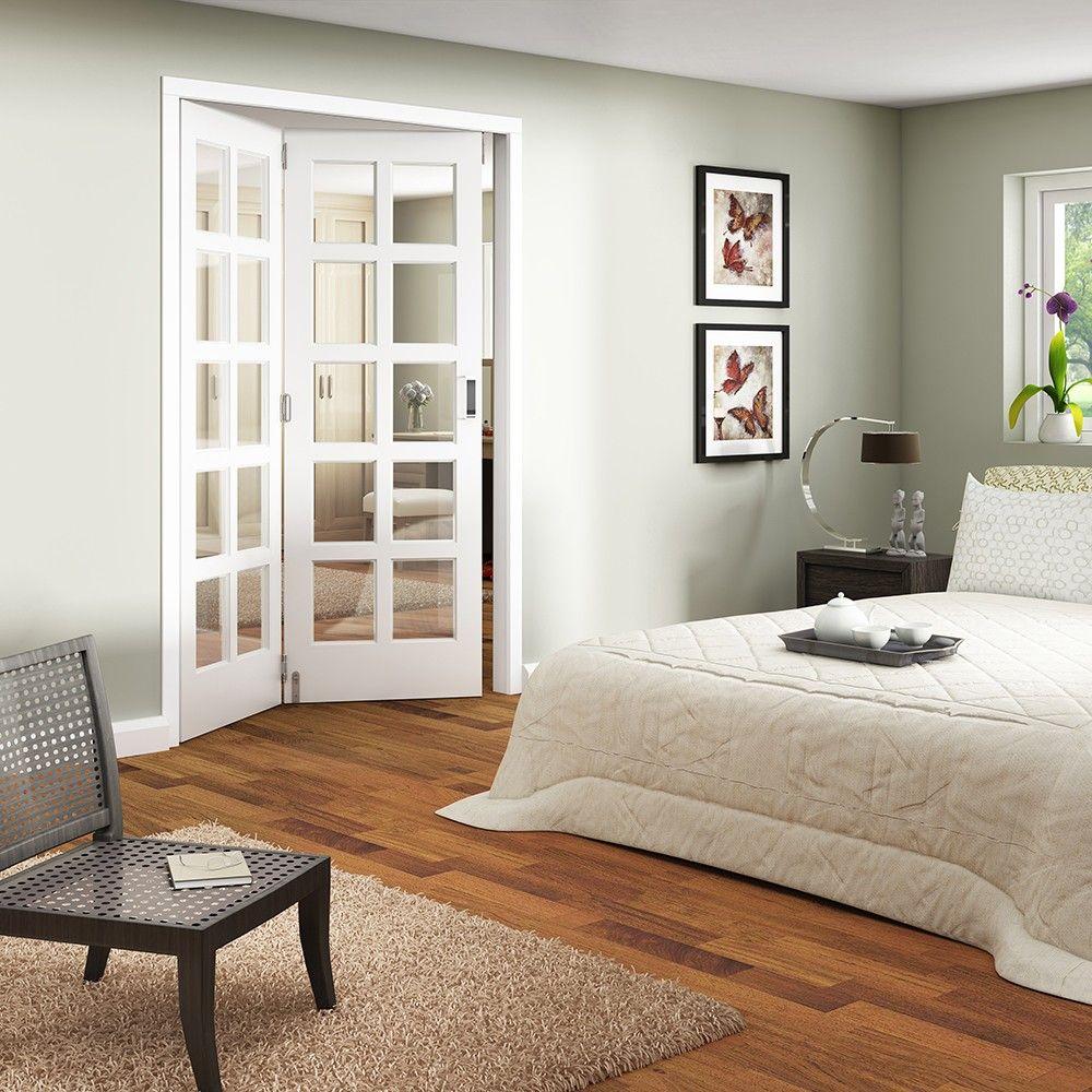 internal white primed shaker 2 door room fold & slide divider