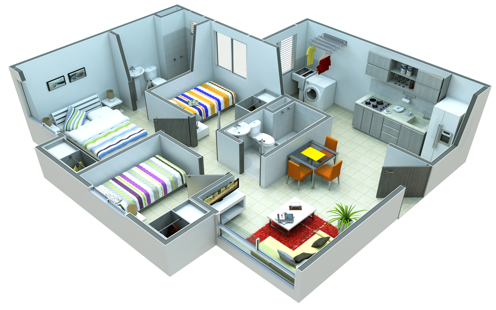 Plano de departamentos de 60 metros cuadrados con 3 for Dormitorio 12 metros cuadrados