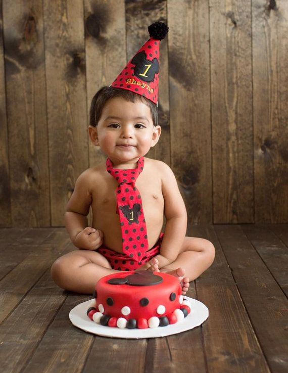 Mickey Mouse Boy First Birthday Cake Smash Outfit Tie Diaper Cover Party Hat