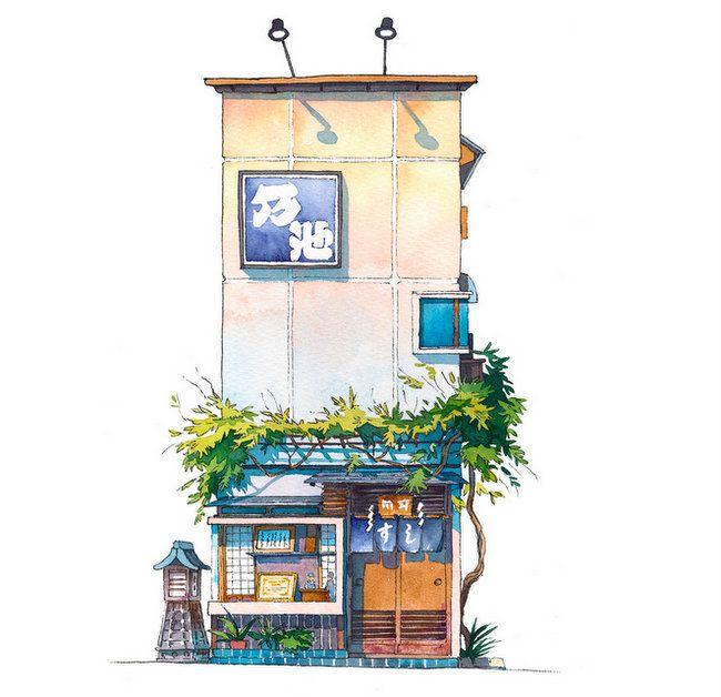 Illustrated Tokyo Storefronts By Mateusz Urbanowicz Arts