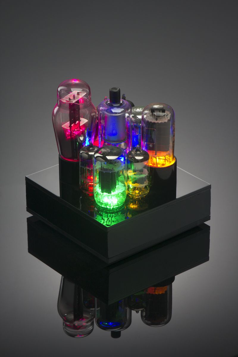 Add inspiration to your desk with this USB-powered art piece that features REAL antique vacuum tubes! This intricate work of art is the perfect office conversation piece. Custom branding available with logos, etc. Like all our pieces, this can be powered by USB and considered amongst the chicest of computer accessories. $250.00 for a perfect corporate gift for the technology lover in your life! Check out creationsbybaloopas.com for more amazing vacuum tube art!