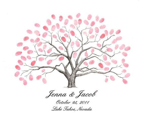Thumbprint Tree Wedding Guest Book Alternative Medium Live Oak With Birds