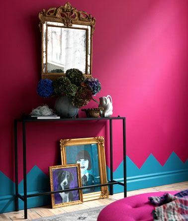 salon-peinture-murale-rose-fushia-plinthes-bleu en 2019 | La vie en ...
