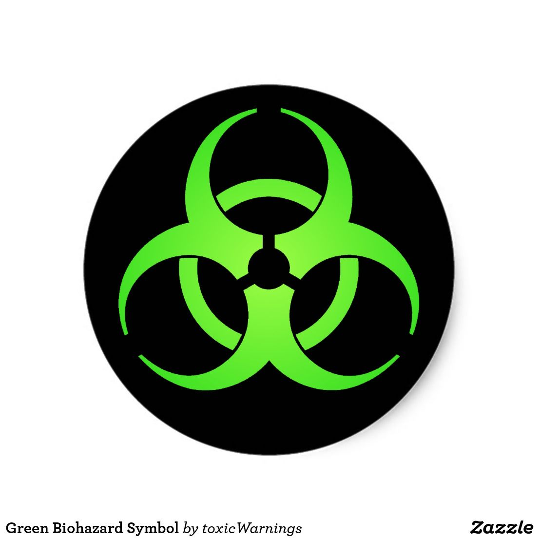 Green Biohazard Symbol Classic Round Sticker Zazzle Com In 2021 Biohazard Symbol Happy Birthday Signs Symbols