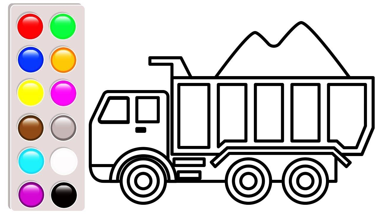 Dump truck coloring pages for kids car and truck coloring book