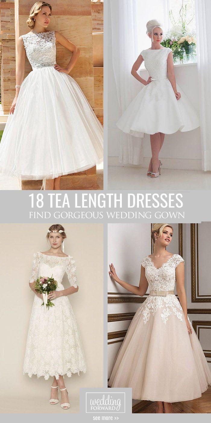 24 Gorgeous Tea Length Wedding Dresses   Braut und Brautkleid