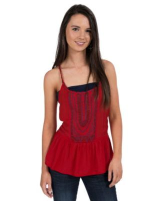 Double Zero Women's Red with Navy Embroidery and Rope Straps Racer Back Tank Fashion Top