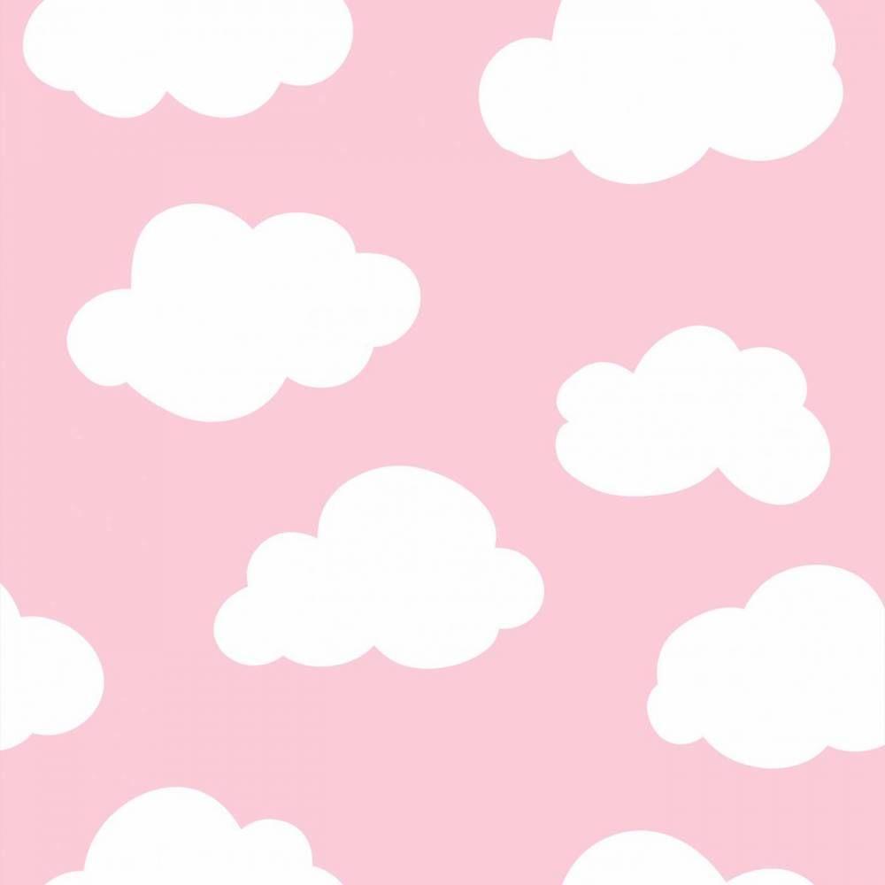 Papel De Parede Infantil C U E Espa O Nuvens Rosa E Branco