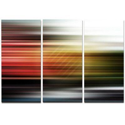 "DesignArt Metal 'Horizontal Lights' Graphic Art Size: 28"" H x 36"" W"