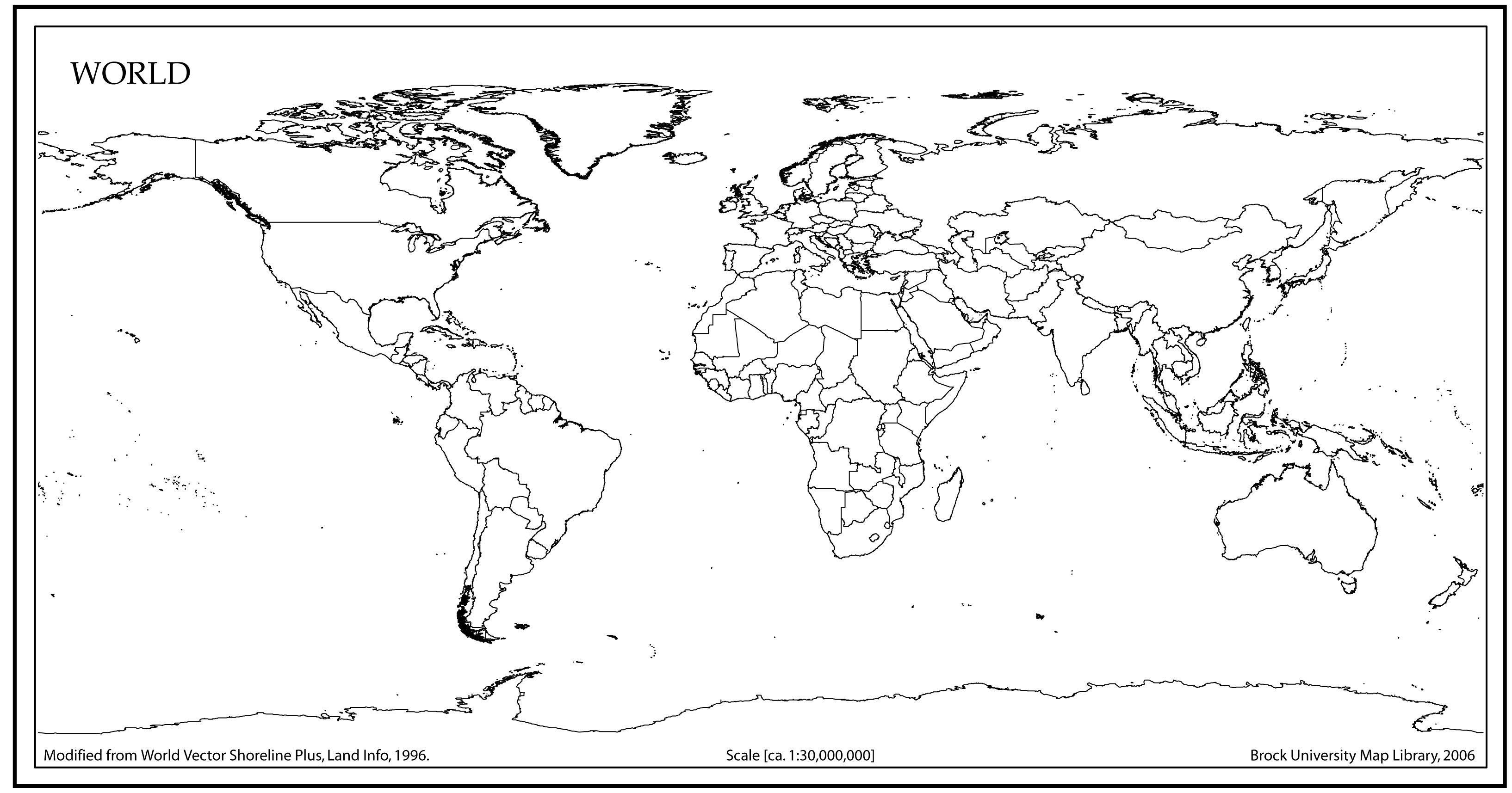Outline Map Of World 7 Best Images of Blank World Maps Printable PDF   Printable Blank