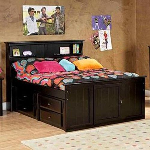 Trendwood Laguna Twin Bookcase Bed With Footboard Storage