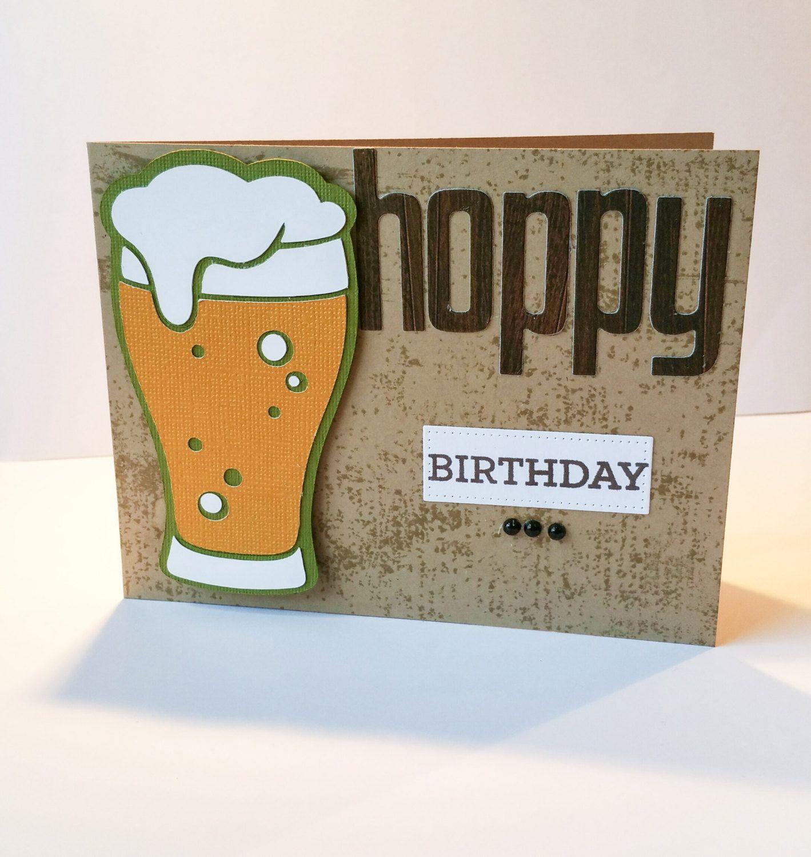 Hoppy Birthday Happy Birthday Beer Glass Card By Loriscraftyspot On Etsy カード