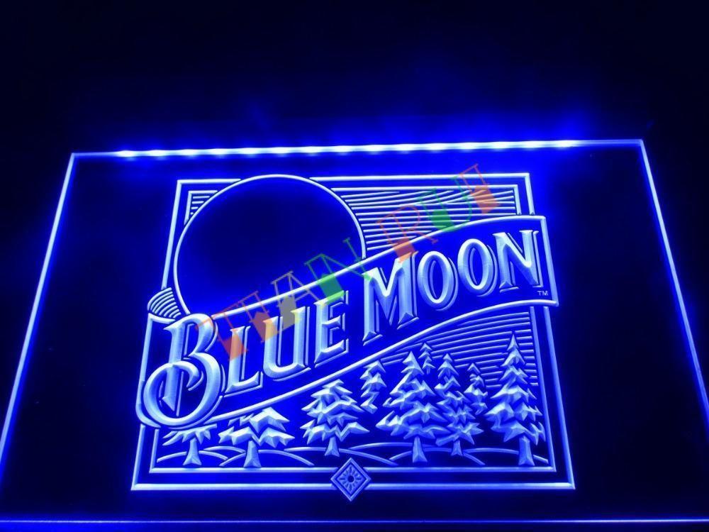 LE167- Blue Moon Beer Bar Pub Logo LED Neon Light Sign