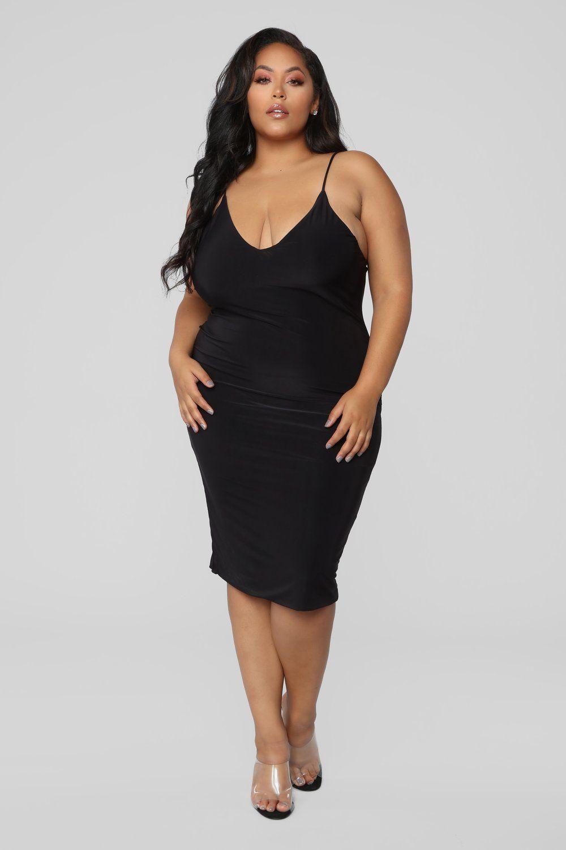 Anne Marie Midi Dress Black Fashion nova plus size