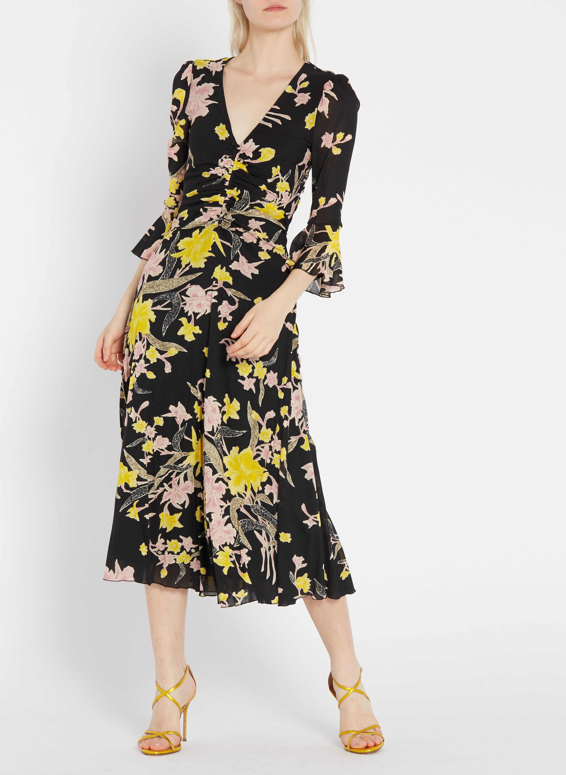 Robe Midi Col V Imprimee Floating Bouquet Black Diane Von Furstenberg Createurs Place Des Tendances Diane V Dresses Dresses With Sleeves Long Sleeve Dress