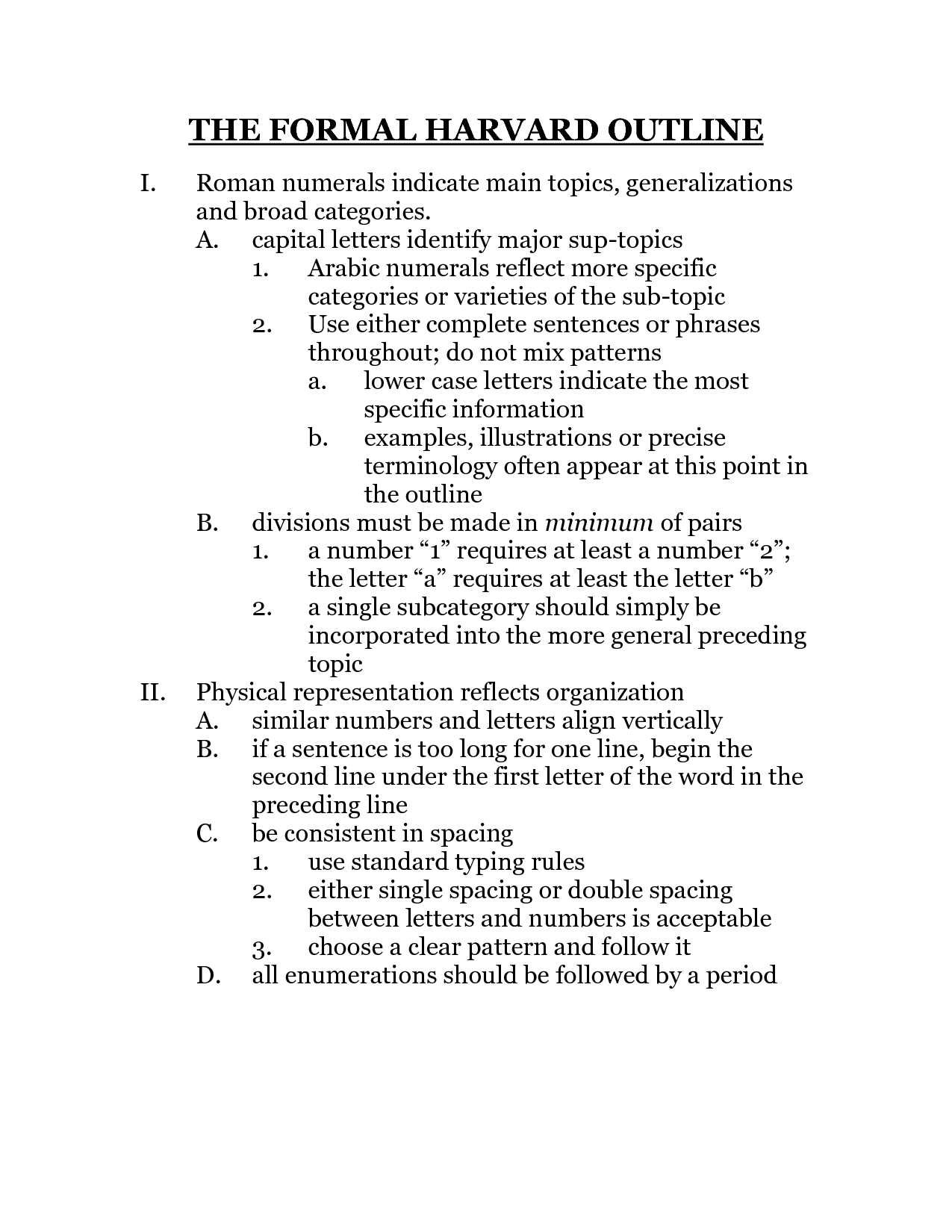 Harvard Outline Format Example