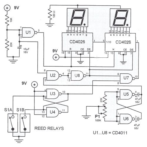 Circuito Eletronica : Circuito de tacômetro digital para bicicleta eletrônica