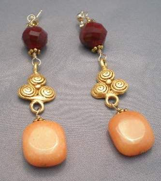 Peach Jade And Maroon Glass 14k Gold Filled by LottiesTrinkets, $23.00