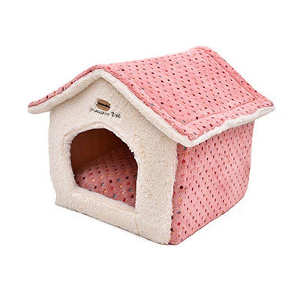 Elite Polka Dot Cute House Shape Pet Bed For Small Dogs And Cats Winter Warm Short Plush Fabric Removable Cover Non Thick Dog Bed Heated Pet Beds Dog House Bed