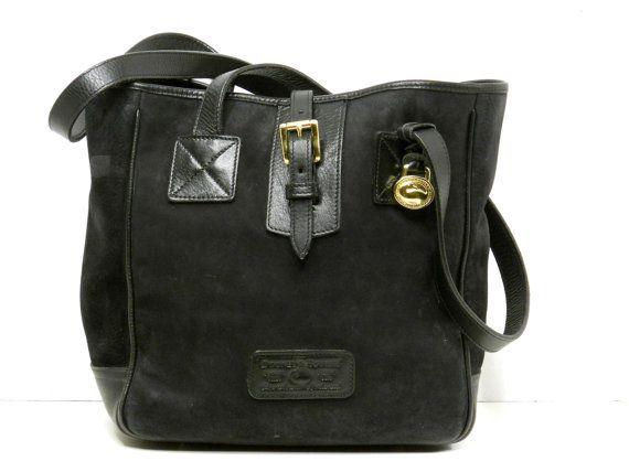 fe9016aafbee Dooney and Bourke Black Suede Leather Tote    Large Shoulder Bag ...