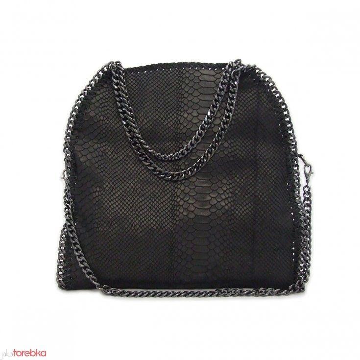 7e591a78266b0 Czarna torebka z imitacji wężowej skóry Adriana | Skórzane Torebki ...