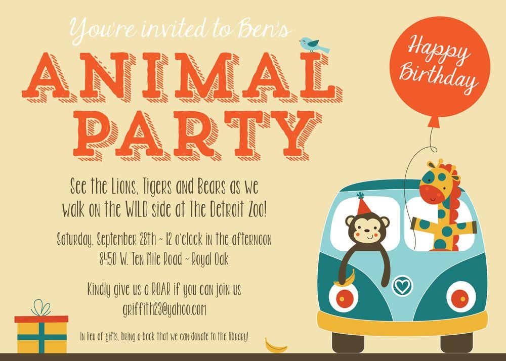 Zoo Animal Party Invitation | Zoo animal party, Party invitations ...