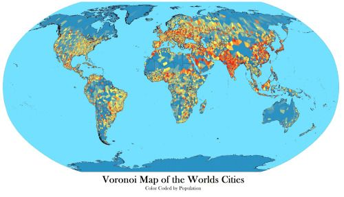 Voronoi map of the worlds cities capitals of first andor second