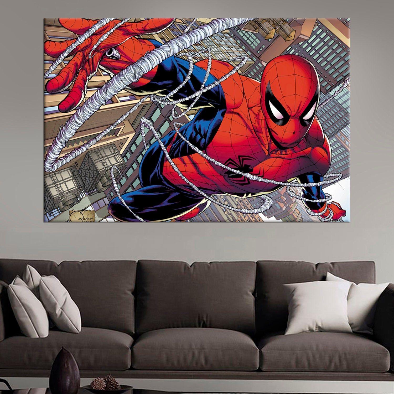 Amazing Spider Man Modern Art Print Comic Wall Art Etsy Comics Wall Art Modern Art Prints Etsy Wall Art