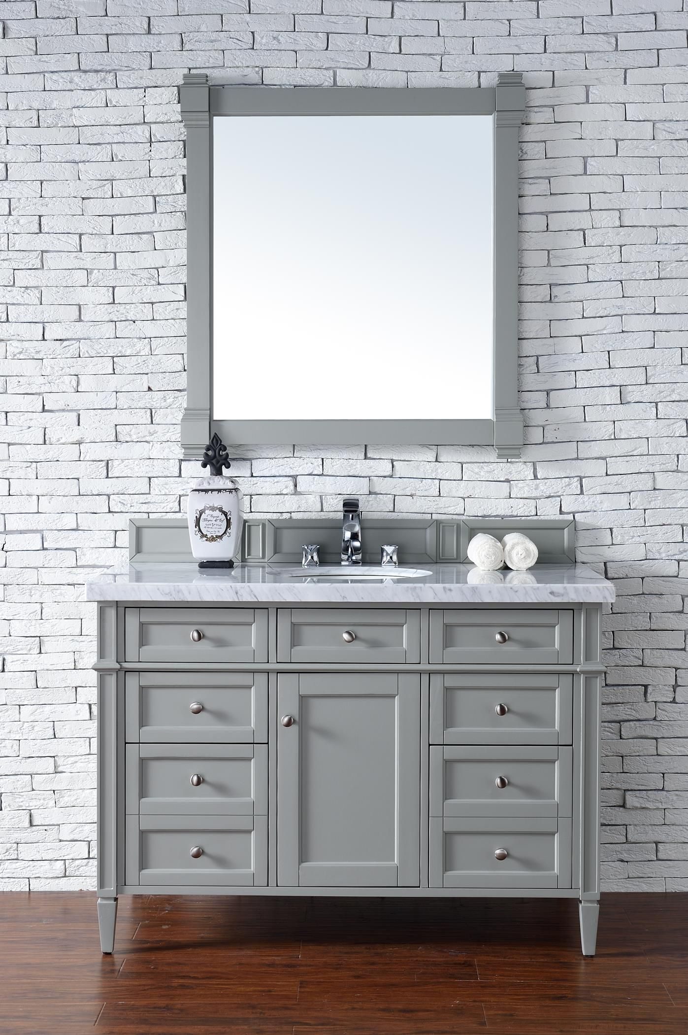 Brittany 48 Single Sink Bathroom Vanity Cabinet Urban Gray Finish Carrara Grey Bathroom Vanity Transitional Bathroom Vanities Single Sink Bathroom Vanity