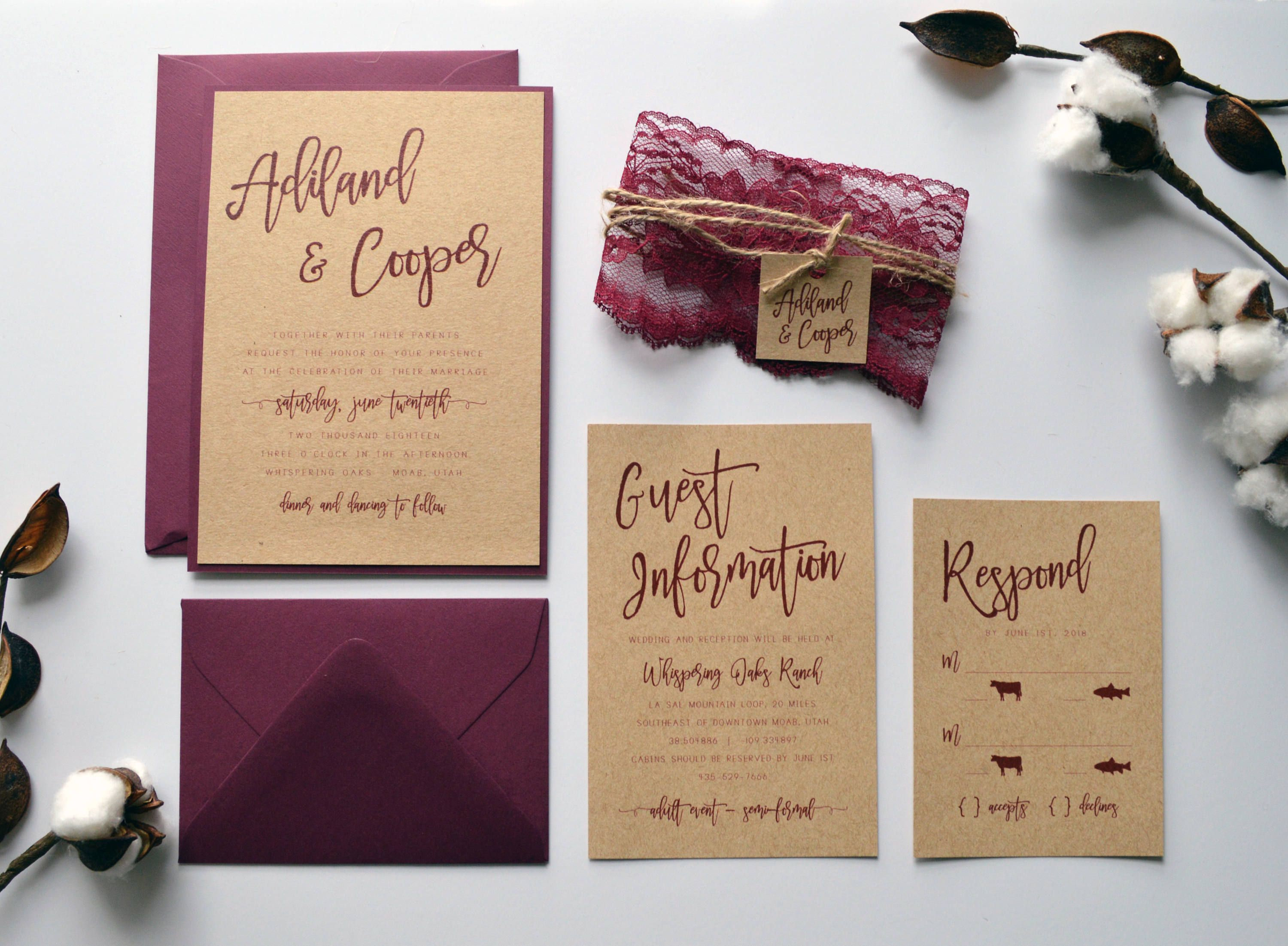 Rustic Wedding Invitation Kraft Wedding Invitation Country Wedding