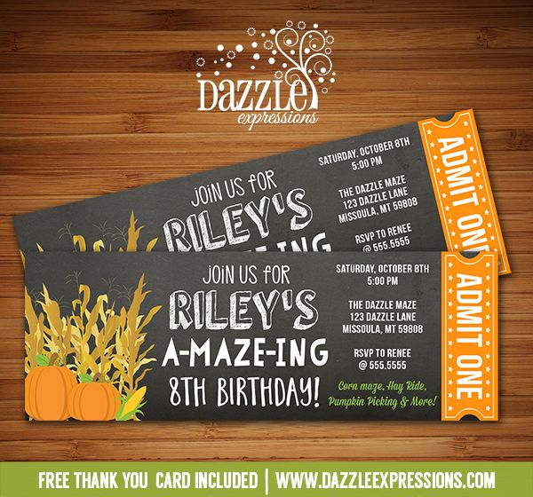 Printable Corn Maze Chalkboard Ticket Birthday Invitation Corn - print your own tickets template free