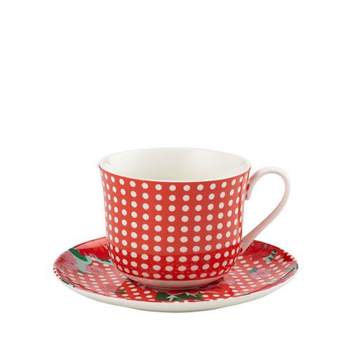 Anna Gare Vintage Rose Oversized Tea Cup Saucer Red