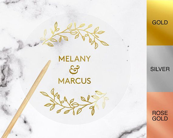 Personalised real foil wedding stickers custom name stickers gold rose gold silver
