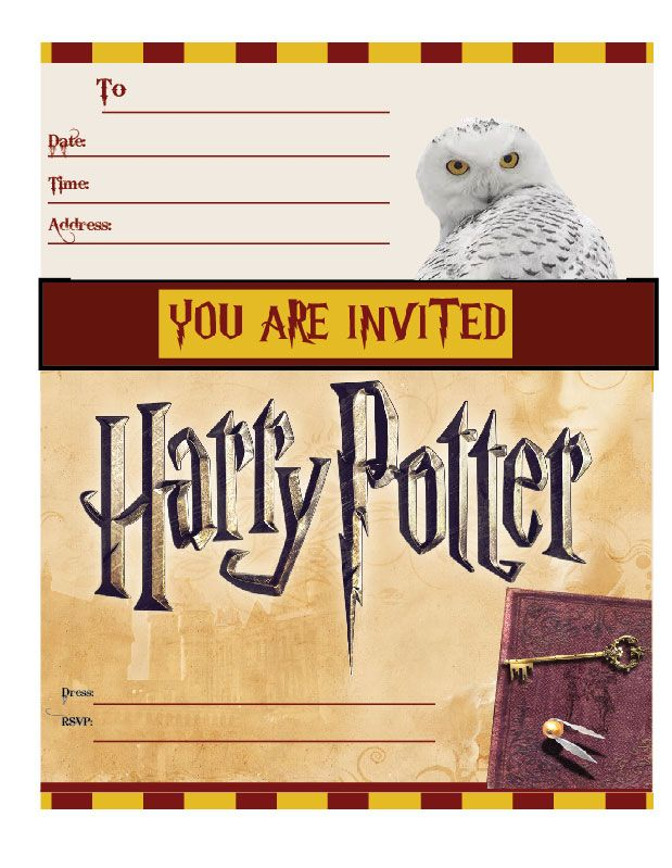 Harry Potter Birthday Cards Free Printable ~ Harry potter invitations party printable free