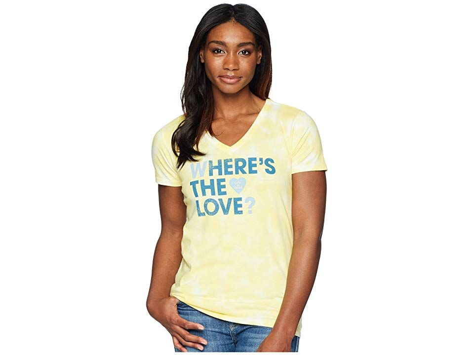 Life is Good Where's The Love? Crusher Vee Tee (Happy Yellow Tie-Dye) Women's T Shirt. You've got questions  find the answers with the Life is Good Where's The Love? Crusher Vee Tee. Classic Fit barely skims the body for a flattering silhouette. Breathable cotton is tie-dyed and garment washed for that lightly worn  favorite shirt feel. Double-needle stitching increases durability. V-neckline. Short-sleeve coverage. Custom bra