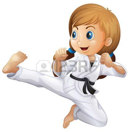 Illustrazione Di Una Giovane Ragazza Facendo Karate Su Uno Sfondo Bianco Martial Arts Kids Girl Cartoon Karate Images