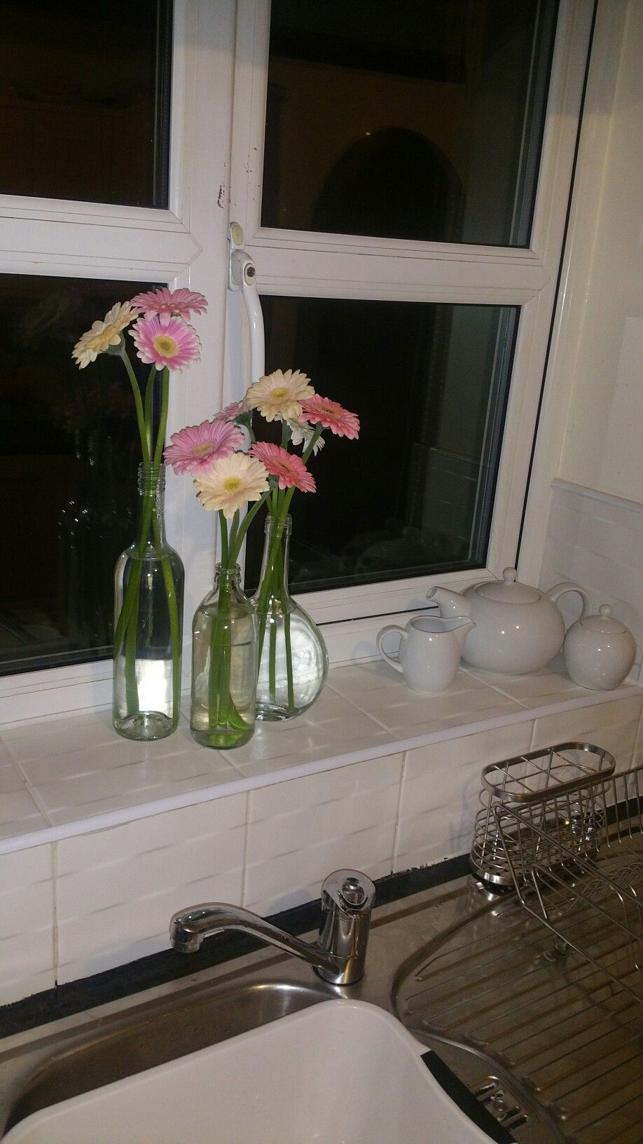 Kitchen window gorgeous gerbras pink and creams