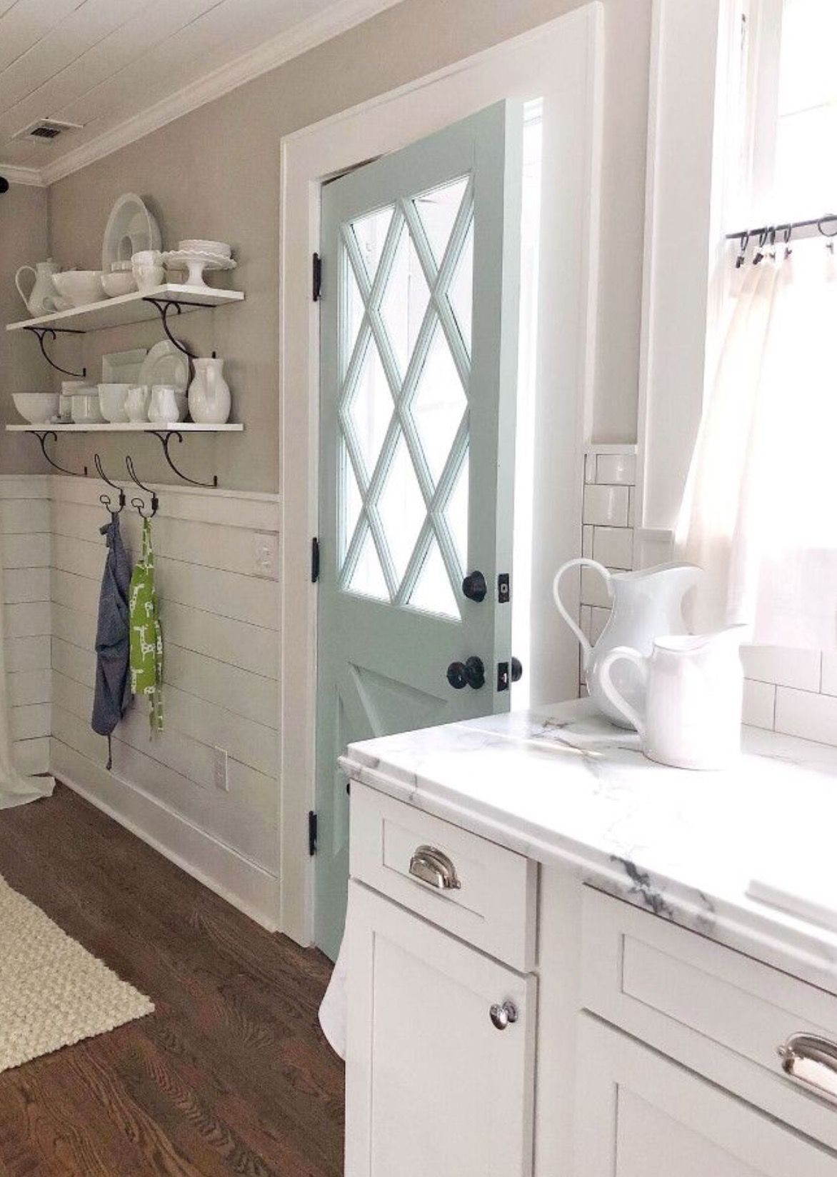 Agreeable gray with Seasalt paint and white trim color - Sherwin Williams - kitchen - mud room #sherwinwilliamsagreeablegray
