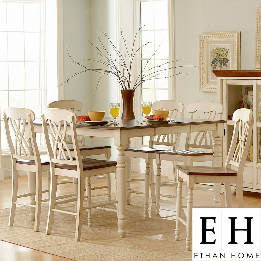ETHAN HOME Mackenzie 7 Piece Casual Country White Dining Set | Overstock.com & ETHAN HOME Mackenzie 7 Piece Casual Country White Dining Set ...