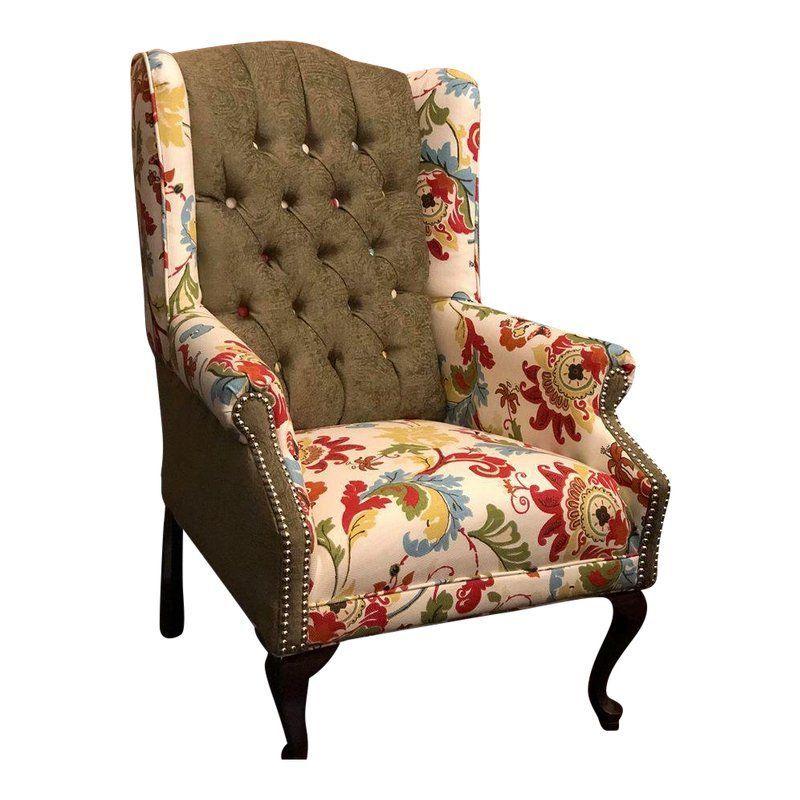 Refurbished Antique Wingback Chair Classic Home Furniture