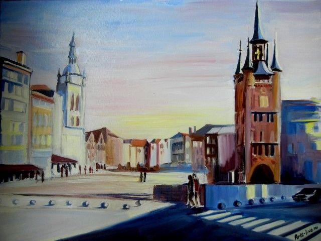 """Schilderij """"Kortrijk Grote Markt"""", olkieverf, Arts Line Studio"""
