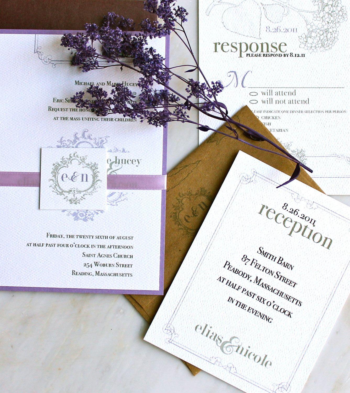 Purple Rustic Wedding Invitations: Rustic Purple Wedding Invitations, Vintage Wedding
