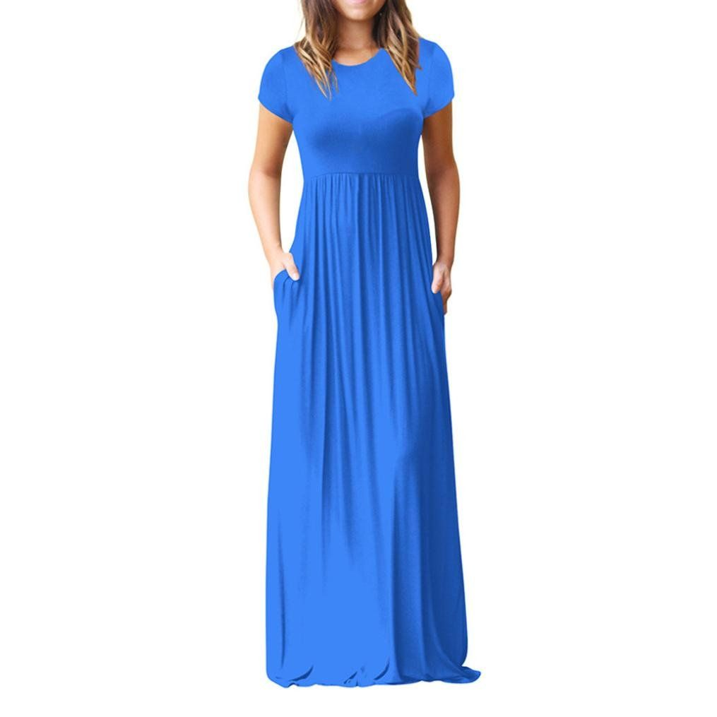 300f555165a JJLOVER Women Elegant Short Sleeve Floor Length Dress With Front Pocket  Loose Party Casual Party Dress