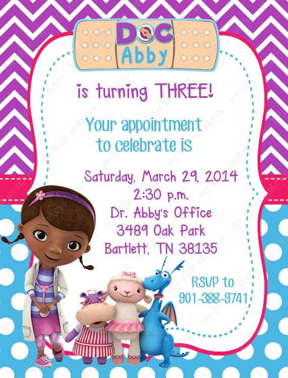 10 Doc McStuffins Invitations with Envelopes by BethCloud723 799