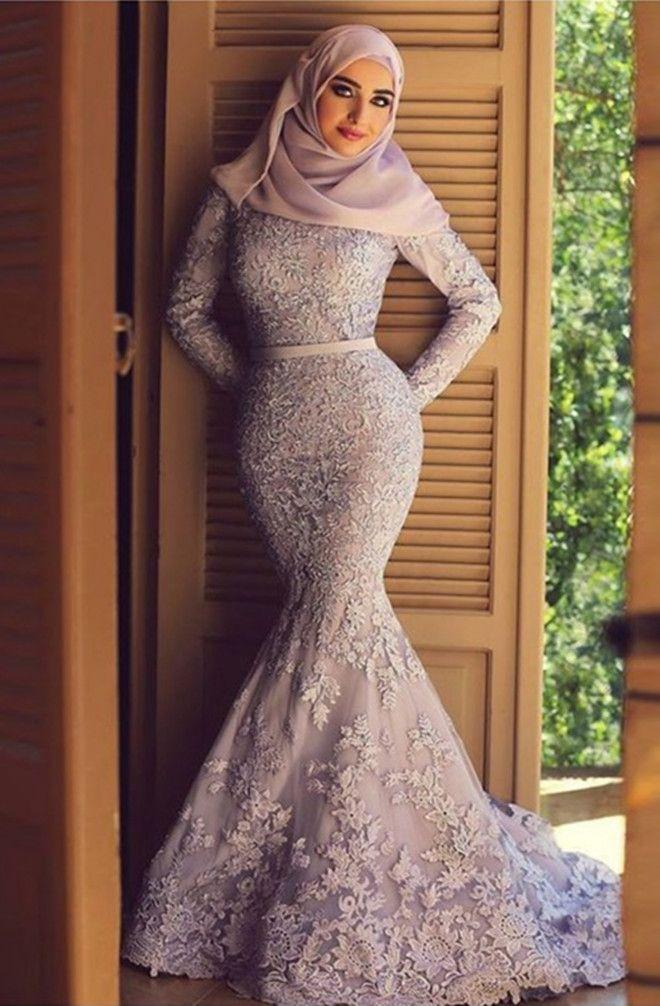 Modern High Neck Long Sleeves Sweep Train Pink Lace Mermaid Prom ... bc8e6f5fda70