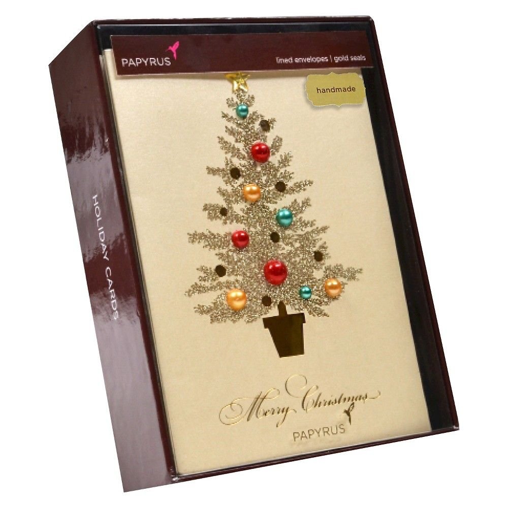 Papyrus 8ct Elegant Pearl Tree with Gems Handmade Holiday Boxed ...