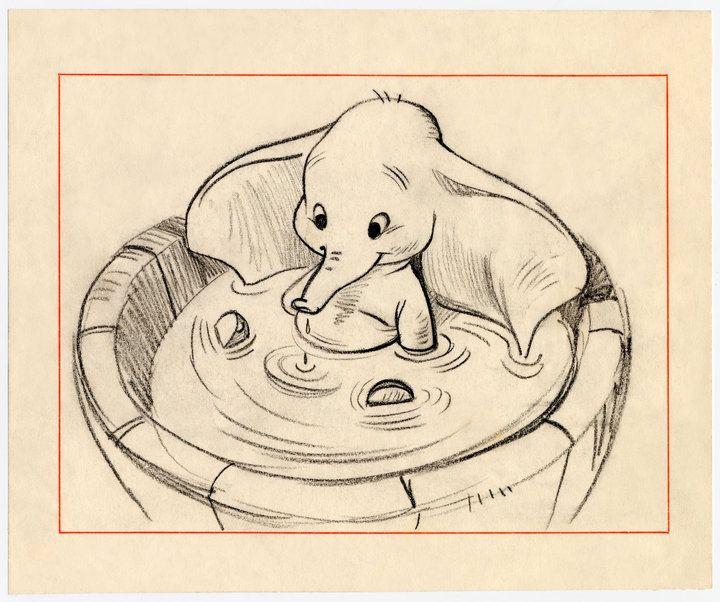 walt disney sketches baby dumbo in the bathtub so cute