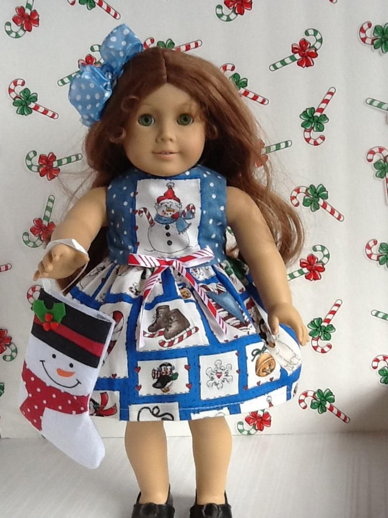 American Girl 18 inch Doll Dress Blue Snowman Print with Bow And Bonus Christmas Stocking!! ~FREE SHIPPING~ #18inchdollsandclothes