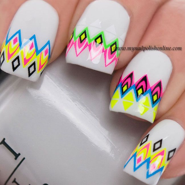 Hail the Nails geometric neon nail water decals | nails | Pinterest ...